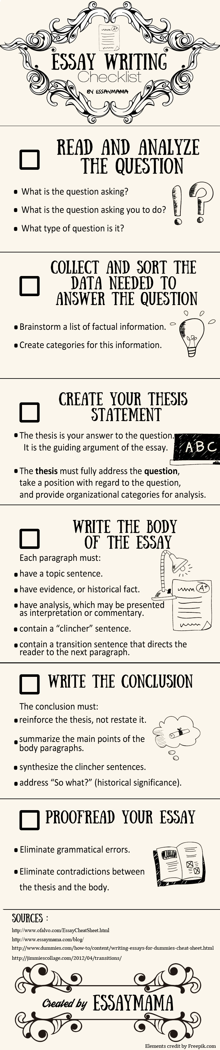 checklist final checklist for writing essays department of history